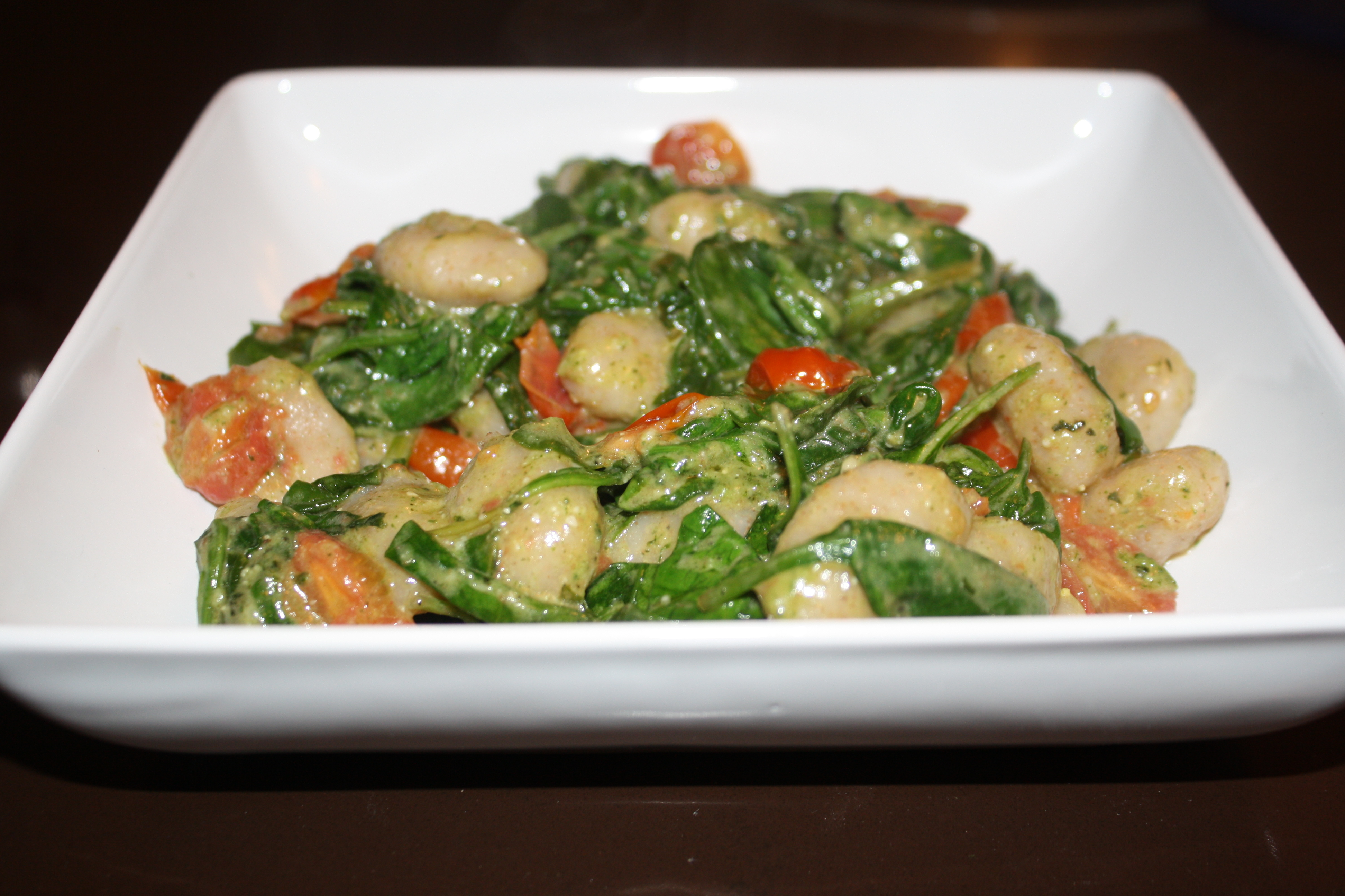 Gnocchi, Spinach and Tomatoes with Pesto Sauce